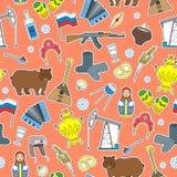 Άνευ ραφής απεικόνιση στο θέμα του ταξιδιού στη χώρα της Ρωσίας, χρωματισμένα εικονίδια μπαλωμάτων κινούμενων σχεδίων στο πορτοκα Στοκ φωτογραφία με δικαίωμα ελεύθερης χρήσης