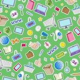 Άνευ ραφής απεικόνιση στο θέμα των καταστημάτων on-line αγορών και Διαδικτύου, τα χρωματισμένα εικονίδια μπαλωμάτων στο πράσινο υ Στοκ Φωτογραφία