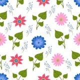 Άνευ ραφής απεικόνιση σχεδίων με τα όμορφα λουλούδια Σκανδιναβικό ύφος λαϊκή στάμνα κεραμικής τέχνη& Στοκ εικόνες με δικαίωμα ελεύθερης χρήσης