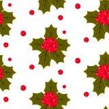 Άνευ ραφής απεικόνιση σχεδίων μούρων ελαιόπρινου Χριστουγέννων Στοκ Εικόνες