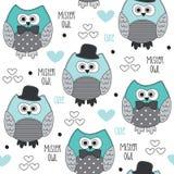 Άνευ ραφής απεικόνιση του κυρίου owl pattern vector Στοκ Εικόνες