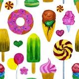 Άνευ ραφής απεικόνιση watercolor του κέικ και του παγωτού διανυσματική απεικόνιση