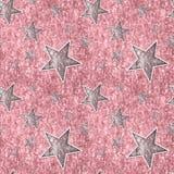 Άνευ ραφής ασημένια ρόδινα αστέρια στο ροζ σπινθηρίσματος Στοκ εικόνες με δικαίωμα ελεύθερης χρήσης