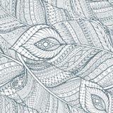Άνευ ραφής ασιατικό εθνικό floral αναδρομικό σχέδιο υποβάθρου doodle στο διάνυσμα με τα φτερά διανυσματική απεικόνιση