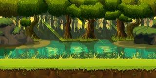 Άνευ ραφής δασικό τοπίο άνοιξη, ατέρμονο διανυσματικό υπόβαθρο φύσης με τα χωρισμένα στρώματα για το σχέδιο παιχνιδιών