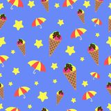 Άνευ ραφής αστέρι παγωτού ομπρελών σχεδίων έννοιας διανυσματική απεικόνιση άνευ ραφής στο μπλε απεικόνιση αποθεμάτων