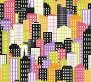 άνευ ραφής αστικός τοπίων επίσης corel σύρετε το διάνυσμα απεικόνισης Υπόβαθρο πόλεων, φωτεινή παλέτα ελεύθερη απεικόνιση δικαιώματος