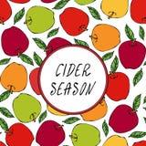 Άνευ ραφής ατελείωτο σχέδιο της Apple εποχής μηλίτη Κόκκινος καρπός μήλων Το σπίτι παρασκευάζει Φυτική συλλογή συγκομιδών φθινοπώ Στοκ Εικόνες