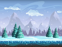 Άνευ ραφής ατελείωτος πάγος υποβάθρου χειμερινών τοπίων κινούμενων σχεδίων, χιόνι χ ελεύθερη απεικόνιση δικαιώματος
