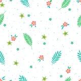 Άνευ ραφής αφηρημένα λουλούδι και φύλλα ελεύθερη απεικόνιση δικαιώματος