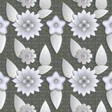 Άνευ ραφής αφηρημένη απεικόνιση υποβάθρου της φύσης Αριθμός τρισδιάστατος, λουλούδια, φύλλα διανυσματική απεικόνιση