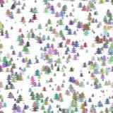 Άνευ ραφής αφηρημένη τυχαία διακόσμηση υποβάθρου Χριστουγέννων - ζωηρόχρωμο τυποποιημένο σχέδιο χειμερινών διακοπών σχεδίων δέντρ Στοκ Εικόνες