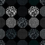 Άνευ ραφής αφηρημένο αναδρομικό γεωμετρικό σχέδιο Διαμορφωμένα, κατασκευασμένα hexagons στο γεωμετρικό σχεδιάγραμμα διανυσματική απεικόνιση