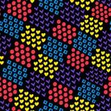 Άνευ ραφής αφηρημένο γεωμετρικό υπόβαθρο από τη διαφορετικό καρδιά μορφών και το τετράγωνο και τον κύκλο και κρότωνας στο μαύρο υ διανυσματική απεικόνιση