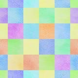 Άνευ ραφής αφηρημένο ζωηρόχρωμο υπόβαθρο τετραγώνων watercolor Στοκ Εικόνες