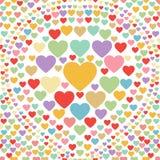 Άνευ ραφής αφηρημένο διάνυσμα υποβάθρου καρδιών κρητιδογραφιών Στοκ Εικόνα