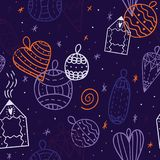 Άνευ ραφής αφηρημένο σχέδιο με τα παιχνίδια Χριστουγέννων και σχέδιο σπιτιών στο countour Στοκ φωτογραφία με δικαίωμα ελεύθερης χρήσης