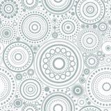 Άνευ ραφής αφηρημένο σχέδιο των γκρίζων κύκλων και των σημείων στο άσπρο υπόβαθρο Υπόβαθρο καλειδοσκόπιων Στοκ Εικόνες