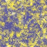 Άνευ ραφής αφηρημένο σχέδιο των χρωματισμένων μορφών Κίτρινες και μπλε τρίχα-όπως γραμμές ελεύθερη απεικόνιση δικαιώματος