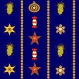 Άνευ ραφής αφηρημένο υπόβαθρο Χριστουγέννων με τα αστέρια και τα μπισκότα ελεύθερη απεικόνιση δικαιώματος