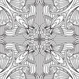 Άνευ ραφής αφηρημένο φυλετικό μαύρος-άσπρο σχέδιο στο μονο ύφος γραμμών Στοκ Εικόνες