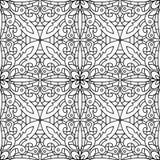 Άνευ ραφής αφηρημένο φυλετικό μαύρος-άσπρο σχέδιο στο μονο ύφος γραμμών Στοκ εικόνα με δικαίωμα ελεύθερης χρήσης
