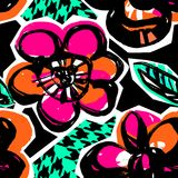Άνευ ραφής αφηρημένο floral συρμένο χέρι σχέδιο μελανιού Στοκ Εικόνα
