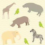 Άνευ ραφής αφρικανικό σχέδιο ζώων Στοκ Εικόνες