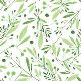Άνευ ραφής βοτανικό σχέδιο Watercolor Μονοχρωματικά λουλούδια, φύλλα, υπόβαθρο χορταριών Στοκ Φωτογραφία