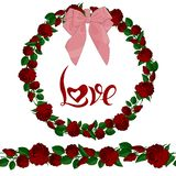 Άνευ ραφής βούρτσα και στεφάνι των κόκκινων τριαντάφυλλων με την εγγραφή διανυσματική απεικόνιση
