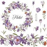 Άνευ ραφής βούρτσα και στεφάνι των λουλουδιών άνοιξη μέσα στο άσπρο υπόβαθρο Στεφάνι του κρόκου διανυσματική απεικόνιση