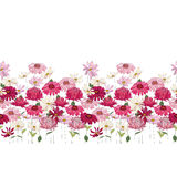 Άνευ ραφής βούρτσα σχεδίων με τα χορτάρια, τη μαργαρίτα, το gerbera και άλλα λουλούδια Ατελείωτη οριζόντια σύσταση Στοκ εικόνες με δικαίωμα ελεύθερης χρήσης