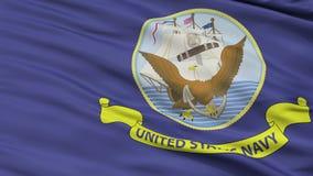 Άνευ ραφής βρόχος κινηματογραφήσεων σε πρώτο πλάνο σημαιών προδιαγραφών Ηνωμένου ναυτικού επίσημος ελεύθερη απεικόνιση δικαιώματος