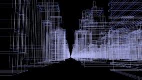 Άνευ ραφής βρόχων αφηρημένη έννοια πόλεων ολογραμμάτων τρισδιάστατη που δίνει με τη φουτουριστική άσπρη και μπλε μήτρα Ψηφιακά κτ φιλμ μικρού μήκους