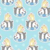 Άνευ ραφής γάτα και panda στο σχέδιο καλοκαιρινών διακοπών ελεύθερη απεικόνιση δικαιώματος