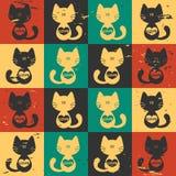 Άνευ ραφής γάτες προτύπων με τις καρδιές Στοκ Φωτογραφίες