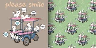 Άνευ ραφής γάτες kawaii και σχέδιο οχημάτων φορτίου διανυσματική απεικόνιση
