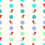 Άνευ ραφής γεωμετρικό διανυσματικό αφηρημένο σχέδιο σχεδίων με το ζωηρόχρωμο ζωηρόχρωμο υπόβαθρο τριγώνων και hexagons Στοκ Φωτογραφίες