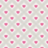 Άνευ ραφής γεωμετρικό πρότυπο με τις καρδιές Στοκ Φωτογραφίες