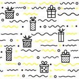 Άνευ ραφής γεωμετρικό σχέδιο με το δώρο, διανυσματική απεικόνιση Στοκ Εικόνες