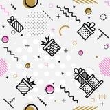 Άνευ ραφής γεωμετρικό σχέδιο με το δώρο, διανυσματική απεικόνιση Στοκ εικόνες με δικαίωμα ελεύθερης χρήσης