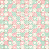 Άνευ ραφής γεωμετρικό σχέδιο καρδιών και κύκλων Στοκ Εικόνα