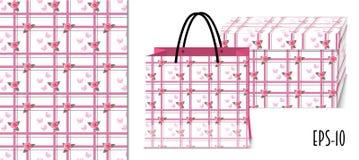Άνευ ραφής γεωμετρικό σχέδιο με τα τριαντάφυλλα και το πρότυπο συσκευασίας ελεύθερη απεικόνιση δικαιώματος