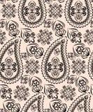 Άνευ ραφής γεωμετρικό σχέδιο με το Paisley και τα λουλούδια Διανυσματικό τετράγωνο τυπωμένων υλών Στοκ φωτογραφία με δικαίωμα ελεύθερης χρήσης