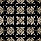Άνευ ραφής γεωμετρικό σχέδιο των διαμαντιών και των τετραγώνων σε καφετή Στοκ Φωτογραφία