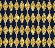 Άνευ ραφής γεωμετρικό σχέδιο των rhombuses Ο χρυσός ακτινοβολεί σύσταση Στοκ Εικόνες