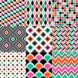 Άνευ ραφής γεωμετρικό σύνολο προτύπων Στοκ εικόνες με δικαίωμα ελεύθερης χρήσης