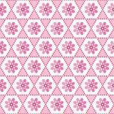 Άνευ ραφής γεωμετρικό floral ρόδινο λευκό σχεδίων υποβάθρου ελεύθερη απεικόνιση δικαιώματος