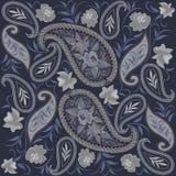 Άνευ ραφής γκρίζο και μπλε σχέδιο με το Paisley και τα λουλούδια Διανυσματική τυπωμένη ύλη Στοκ Εικόνες