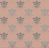 Άνευ ραφής γοτθικό σχέδιο ταπετσαριών στο ρόδινο υπόβαθρο με τα μπλε floral στοιχεία ελεύθερη απεικόνιση δικαιώματος